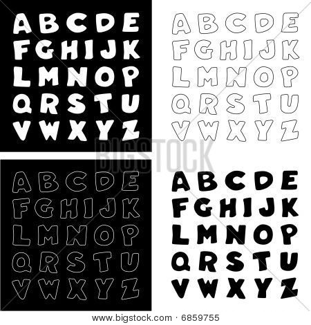 Black & White Alphabet,  4 versions