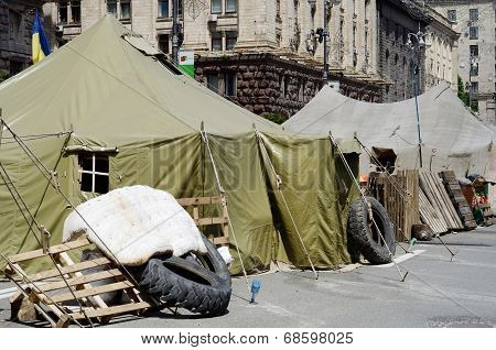 Protesters tents at Khreshatyk street near Maydan Nezalezhnosti square in Kiev after revolution