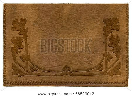 Antique paper photograph cover background with oak leaves