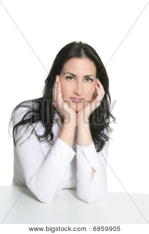Beautiful Businesswoman Portrait Over White