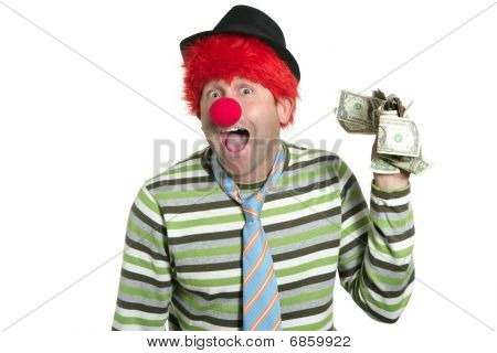 Clown With Many Dollar Notes In Hand