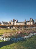 stock photo of chateau  - View of the Chateau de Fontainebleau and its huge park - JPG