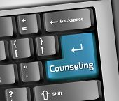 picture of counseling  - Keyboard Illustration Image Graphic with Counseling wording - JPG