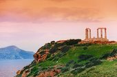 picture of poseidon  - Temple of Poseidon on cape Sounion - JPG
