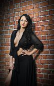 image of woman red blouse  - Charming young brunette woman in black near the brick wall - JPG