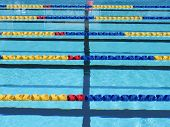 foto of swim meet  - Lane rope background in outdoor swimming pool - JPG