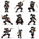 picture of ninja  - A vector illustration of ninja kids in different poses - JPG