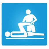 stock photo of physical therapist  - physical therapy sign in blue button - JPG