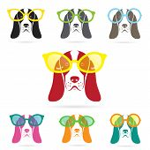 picture of seeing eye dog  - Vector images of basset hound dog wearing glasses on white background - JPG