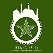 pic of eid al adha  - Stylish sticky in mosque shape with floral decorated star on green background for Muslim community festival Eid - JPG