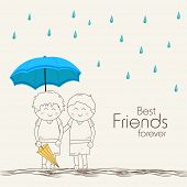 image of  friends forever  - Illustration of cute little kids under blue umbrella on beige background with stylish text Best Friends Forever - JPG