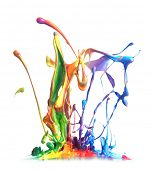 stock photo of ooze  - Colorful paint splashing - JPG