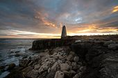 foto of obelisk  - Sunset over the Trinity House Obelisk Monument - JPG