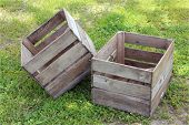 picture of junk-yard  - two old wooden crate in junk yard - JPG