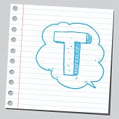 stock photo of letter t  - Letter T in comic bubble  - JPG