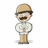 stock photo of safari hat  - cartoon man in safari hat - JPG