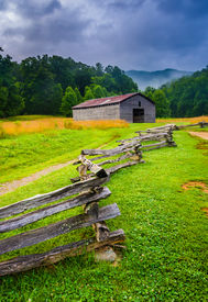 image of cade  - Fence and barn on a foggy morning at Cade - JPG
