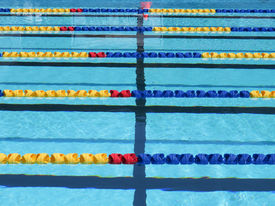 picture of swim meet  - Lane rope background in outdoor swimming pool - JPG