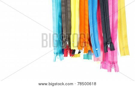 Colorful  Zipper Hang   On White Background