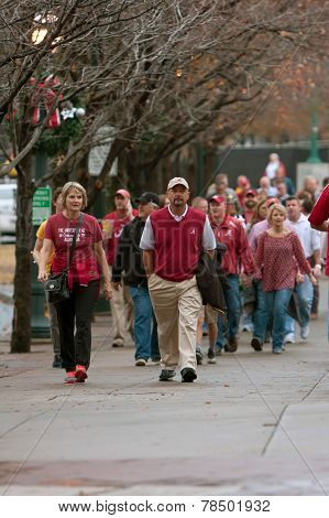 Alabama Fans Walk Toward Georgia Dome For SEC Title Game