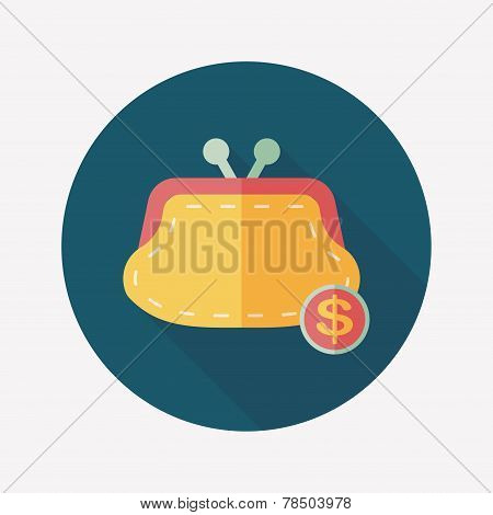 Shopping Change Purse Flat Icon With Long Shadow,eps10