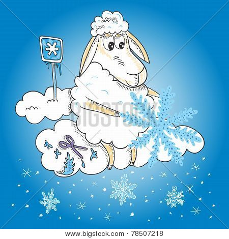 Sheep with snowflakes