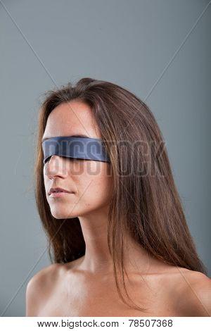 Girl With Black Blind Fold