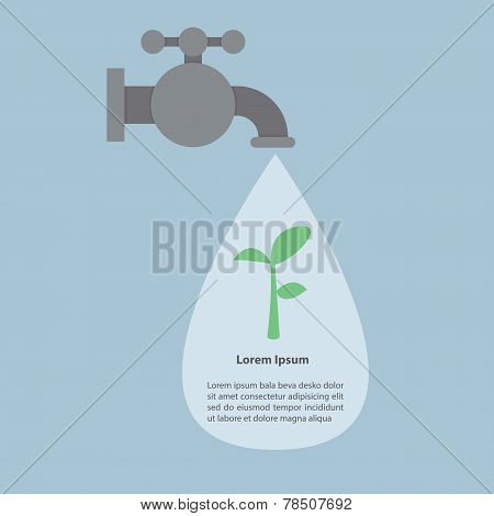 Faucet And Water Drops With Small Plant, Infographics