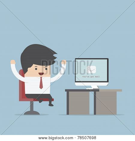 Businessman Sit In Front Of Computer With Envelope In Monitor, You've Got Mail Concept