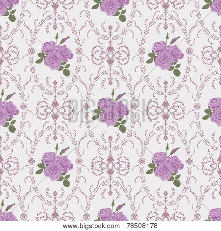 Beautiful Seamless Rose Pattern With Baroque Background Ornamental Vector Illustration