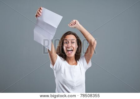 Girl Exulting Because Of Good News