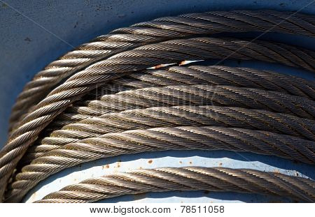 Steel Cable On The Reel In Sunlight