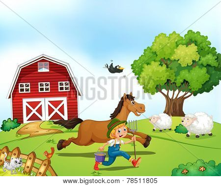 Illustration of a farmer running with a horse
