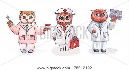 Owls dentist, nurse, radiologist. Vector set of watercolor.