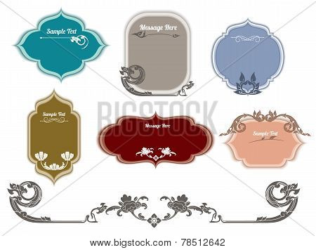 Set of ornate vector frames and ornaments with sample text. thai pattern
