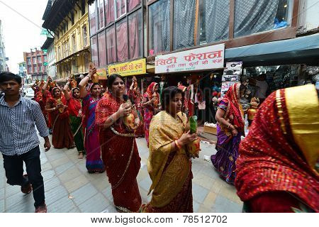 Hindu Celebration On The Streets Of Kathmandu