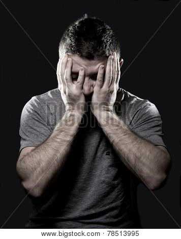 Man Suffering Migraine And Headache In Stress Feeling Sick With Hands On Face
