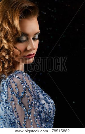 Closeup Fashionable Woman In Blue Dress With Rhinestones