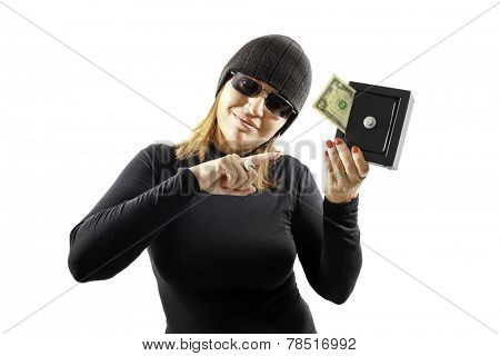 Thief girl holding a safe isolated on white background