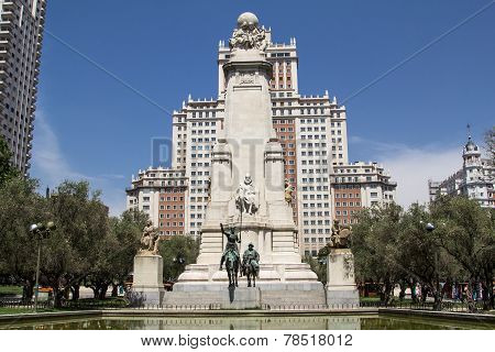 Monument To Cervantes, Don Quixote And Sancho Panza. Spain