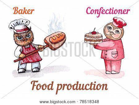 Owls baker and confectioner. Vector watercolor set.