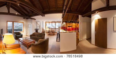 Architecture, comfortable chalet, wide living room