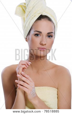 Beautiful Woman With Fresh Healthy Skin Applying Hand Cream After Bath. Spa Woman Concept