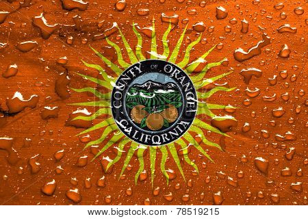 Flag Of Orange County With Rain Drops