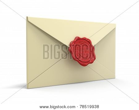 Confidential letters with wax stamp (clipping path included)