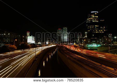 Tel Aviv skyline photo at night