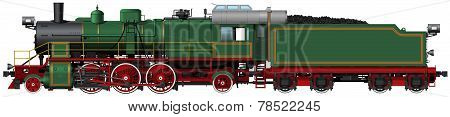 the old green steam locomotive