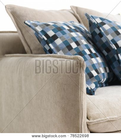 Close-up Of Blue Cushions On A Sofa