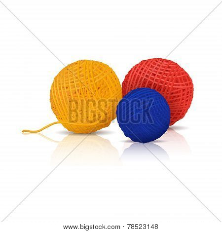 Colored Skeins Of Yarn For Knitting With Reflection