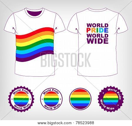 t-shirt with rainbow flag